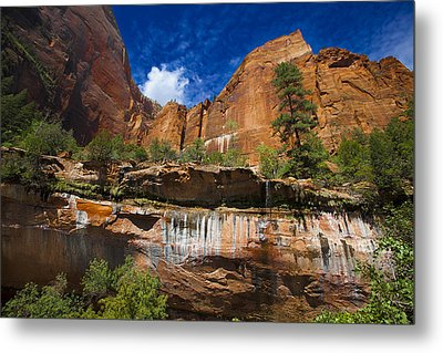 Emerald Pools Falls Zion Park Metal Print