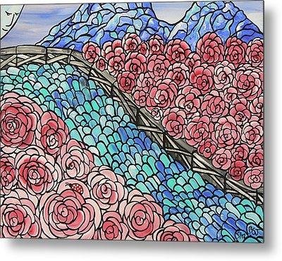 Emerald River Roses Metal Print by Barbara St Jean