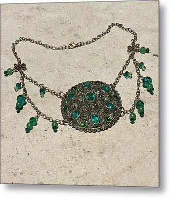 Emerald Vintage New England Glass Works Brooch Necklace 3632 Metal Print