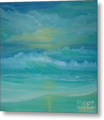 Metal Print featuring the painting Emerald Waves by Holly Martinson