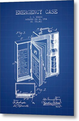 Emergency Case Patent From 1904 - Blueprint Metal Print by Aged Pixel