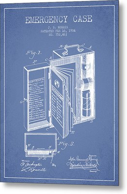 Emergency Case Patent From 1904 - Light Blue Metal Print by Aged Pixel