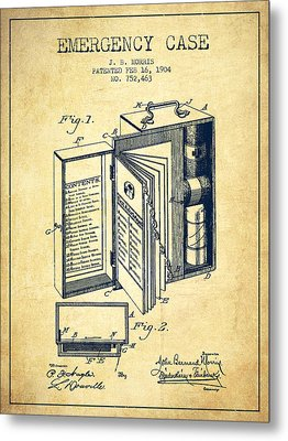 Emergency Case Patent From 1904 - Vintage Metal Print by Aged Pixel