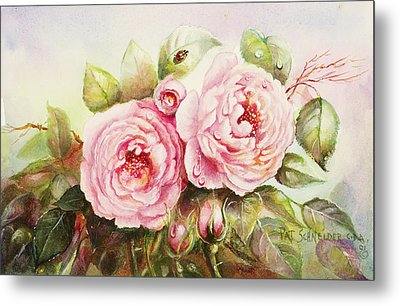 Metal Print featuring the painting Emily English Roses by Patricia Schneider Mitchell