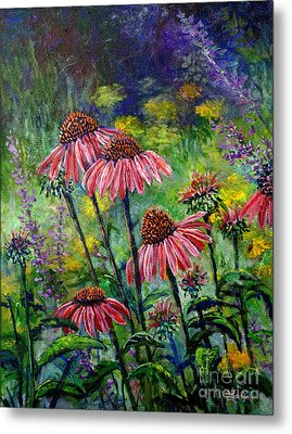 Metal Print featuring the painting Emily's Flowers by Lou Ann Bagnall