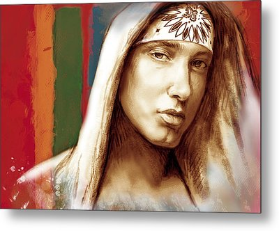 Eminem - Stylised Drawing Art Poster Metal Print by Kim Wang