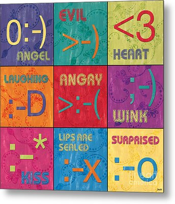 Emoticons Patch Metal Print