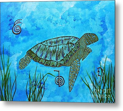 Emotional Healing With The Sea Turtle Metal Print