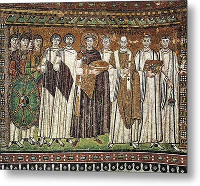 Emperor Justinian And His Court. Ca Metal Print by Everett