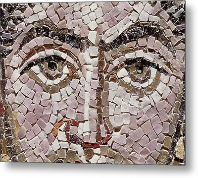 Emperor Justinian I 483-565 C.547 Ad Mosaic Detail Of 140283 Metal Print by Byzantine School