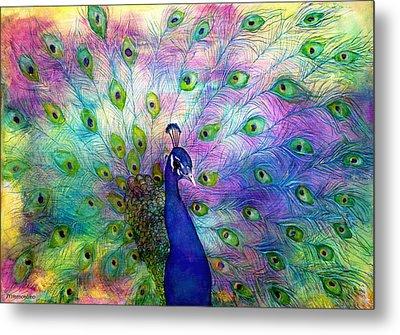 Emperor Peacock Metal Print by Janet Immordino