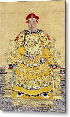 Emperor Qianlong In Old Age Metal Print by Chinese School