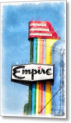 Empire Movie Theater Neon Sign Metal Print by Edward Fielding