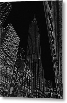 Empire Nyc White On Black Metal Print by Meandering Photography
