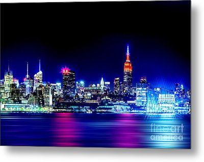 Empire State At Night Metal Print by Az Jackson
