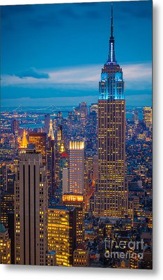 Empire State Blue Night Metal Print