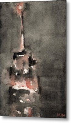 Empire State Building Coral And Black Watercolor Paintings Of Nyc Metal Print