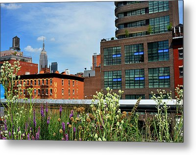 Empire State Building From The High Line Metal Print by Diane Lent