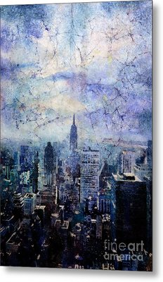 Empire State Building In Blue Metal Print