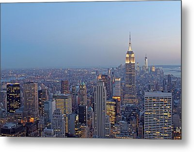 Empire State Building In Midtown Manhattan Metal Print by Juergen Roth