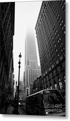 Empire State Building Shrouded In Mist And Nyc Bus Taken From 34th And Broadway Nyc New York City Metal Print by Joe Fox