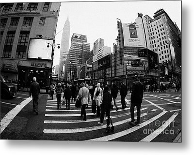 Empire State Building Shrouded In Mist As Pedestrians Crossing Crosswalk  New York City Usa Metal Print