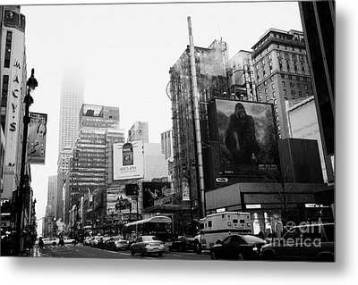 empire state building shrouded in mist from west 34th Street and 7th Avenue King Kong movie poster Metal Print by Joe Fox