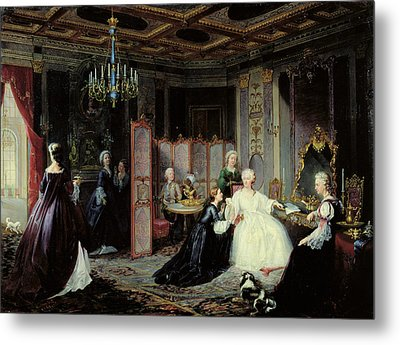 Empress Catherine The Great 1729-96 Receiving A Letter, 1861 Oil On Canvas Metal Print by Jan Ostoja Mioduszewski