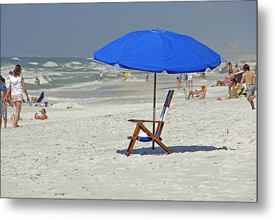 Metal Print featuring the photograph Empty Beach Chair by Charles Beeler