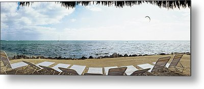 Empty Beach Chairs On The Beach, Key Metal Print by Panoramic Images