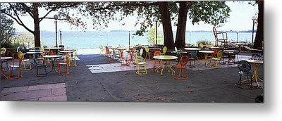 Empty Chairs With Tables In A Campus Metal Print by Panoramic Images