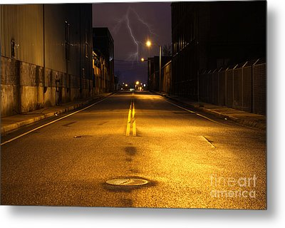 Empty City Street At Night With Lighting Strike Metal Print by Denis Tangney Jr