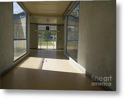 Empty Corridor At Public Hospital Metal Print by Sami Sarkis