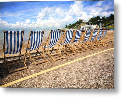 Empty Deckchairs At Southend On Sea Metal Print by Avalon Fine Art Photography