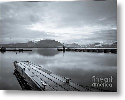 Empty Dock At Tenakee Springs Metal Print by Darcy Michaelchuk