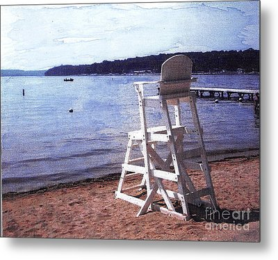 Empty Lake Empty Beach Summer's Out Of Reach  Williams Bay  Wi Metal Print by Jane Butera Borgardt