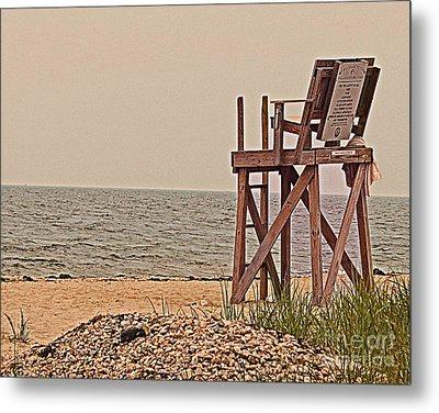 Empty Lifeguard Chair Metal Print by Rita Brown
