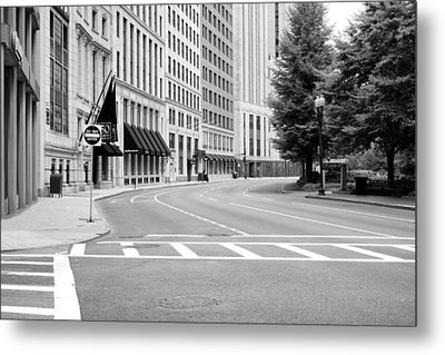 Metal Print featuring the photograph Empty Street In Boston by Boris Mordukhayev