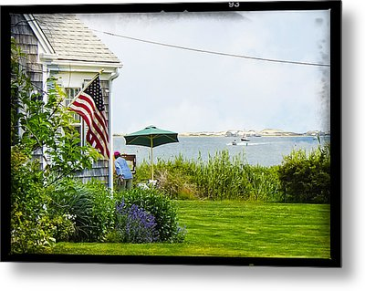 En Plein Air With Flag Metal Print