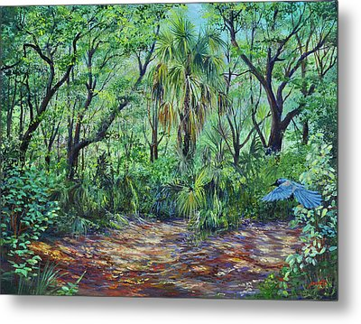 Metal Print featuring the painting Enchanted Clearing by AnnaJo Vahle