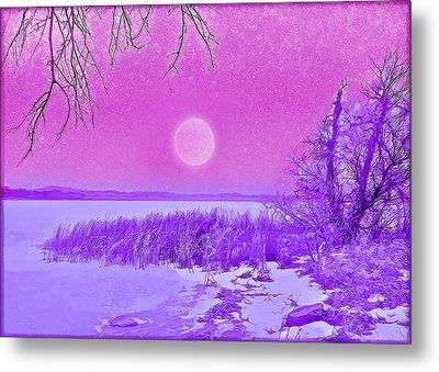 Metal Print featuring the digital art Rosy Hued Moonlit Lake - Boulder County Colorado by Joel Bruce Wallach