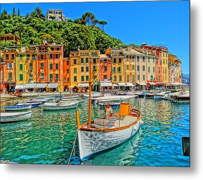 Enchanting Portofino In Ligure Italy V Metal Print by M Bleichner