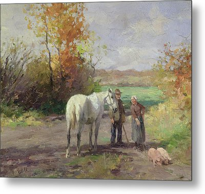 Encounter On The Way To The Field, 1897 Oil On Panel Metal Print by Thomas Ludwig Herbst