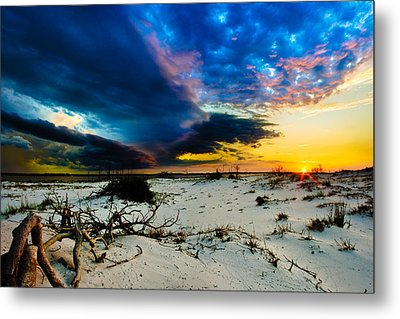 Metal Print featuring the photograph Encroaching Storm Landscape-blue Clouds Sunset Beach by Eszra