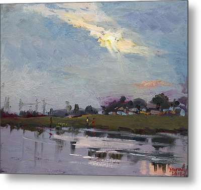 End Of Day By Elmer's Pond Metal Print by Ylli Haruni