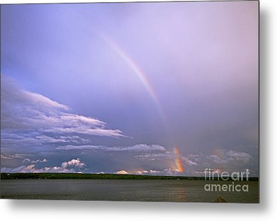 End Of The Rainbow Sebago Lake Maine Metal Print