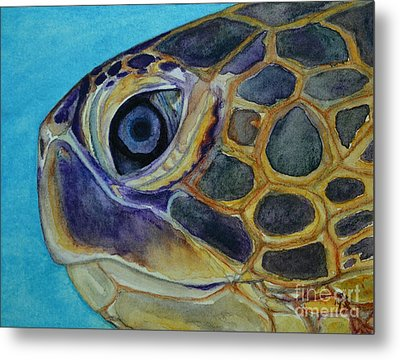 Metal Print featuring the painting Eye Of The Honu by Suzette Kallen