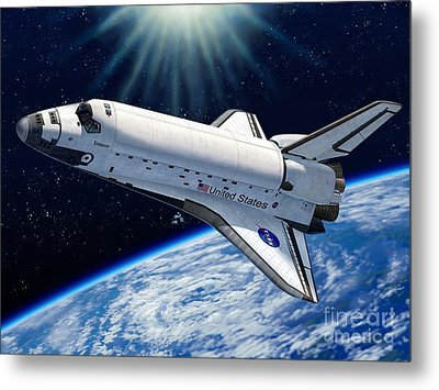 Endeavour In Space Metal Print by Stu Shepherd