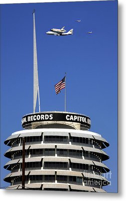 Endeavour Shuttle Over Capitol Records Bldg- Hollywood- With Fighter Jets Metal Print