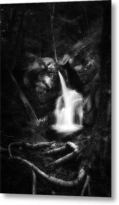 Enders Falls Black And White Metal Print